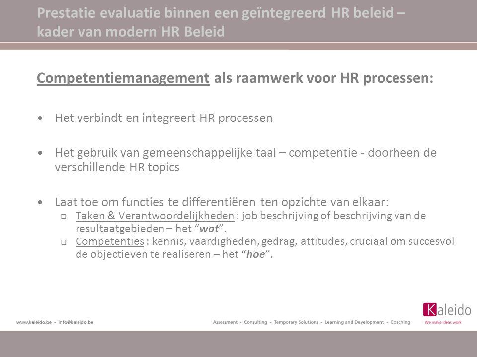 Competentiemanagement als raamwerk voor HR processen: