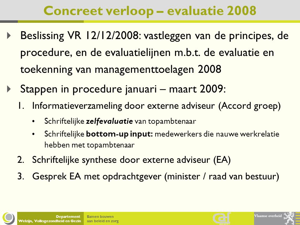 Concreet verloop – evaluatie 2008