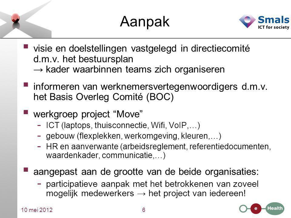 Aanpak visie en doelstellingen vastgelegd in directiecomité d.m.v. het bestuursplan → kader waarbinnen teams zich organiseren.