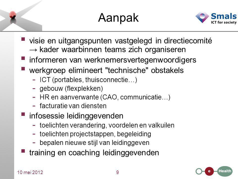 Aanpak visie en uitgangspunten vastgelegd in directiecomité → kader waarbinnen teams zich organiseren.