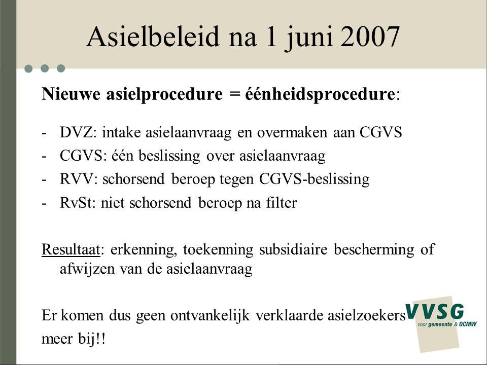 Asielbeleid na 1 juni 2007 Nieuwe asielprocedure = éénheidsprocedure: