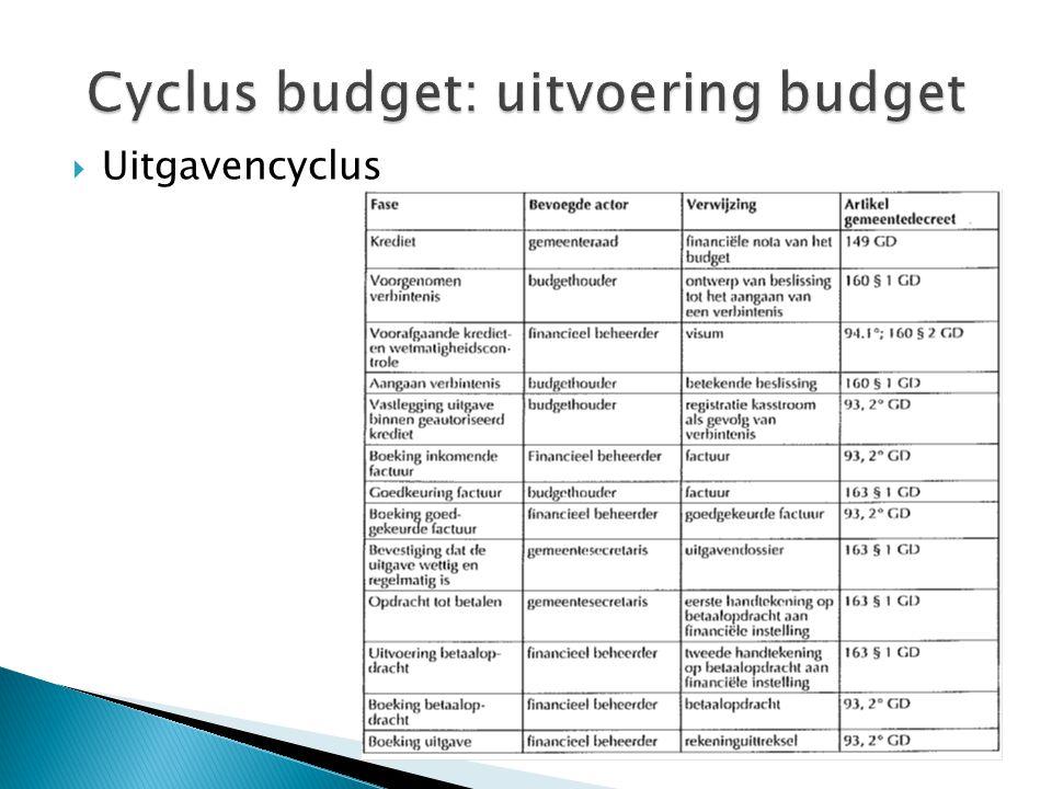 Cyclus budget: uitvoering budget