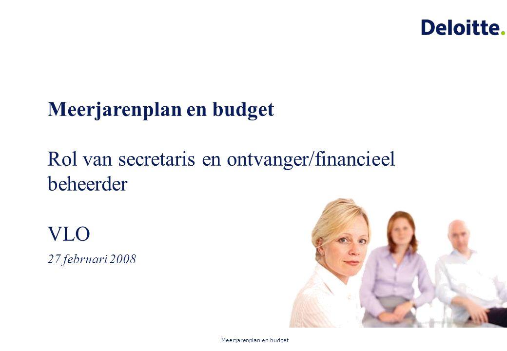 Meerjarenplan en budget Rol van secretaris en ontvanger/financieel beheerder VLO 27 februari 2008