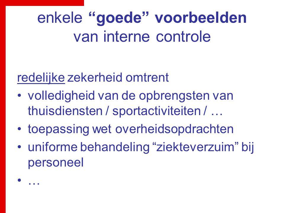 enkele goede voorbeelden van interne controle