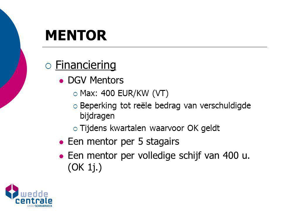 MENTOR Financiering DGV Mentors Een mentor per 5 stagairs
