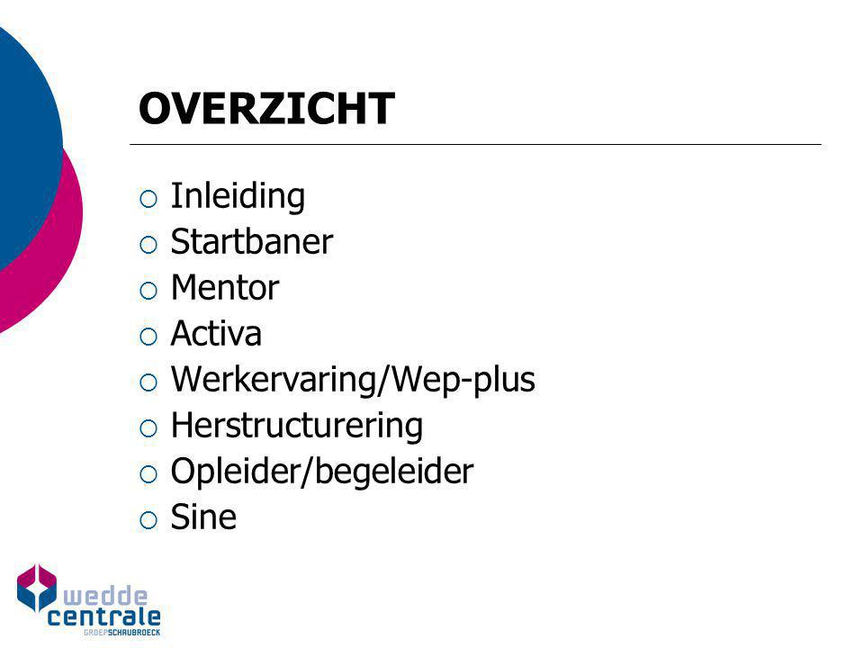 OVERZICHT Inleiding Startbaner Mentor Activa Werkervaring/Wep-plus