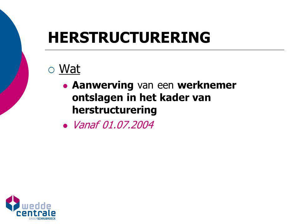 HERSTRUCTURERING Wat. Aanwerving van een werknemer ontslagen in het kader van herstructurering.