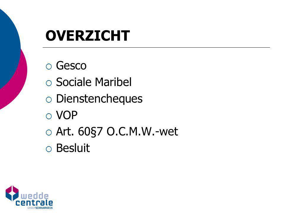 OVERZICHT Gesco Sociale Maribel Dienstencheques VOP