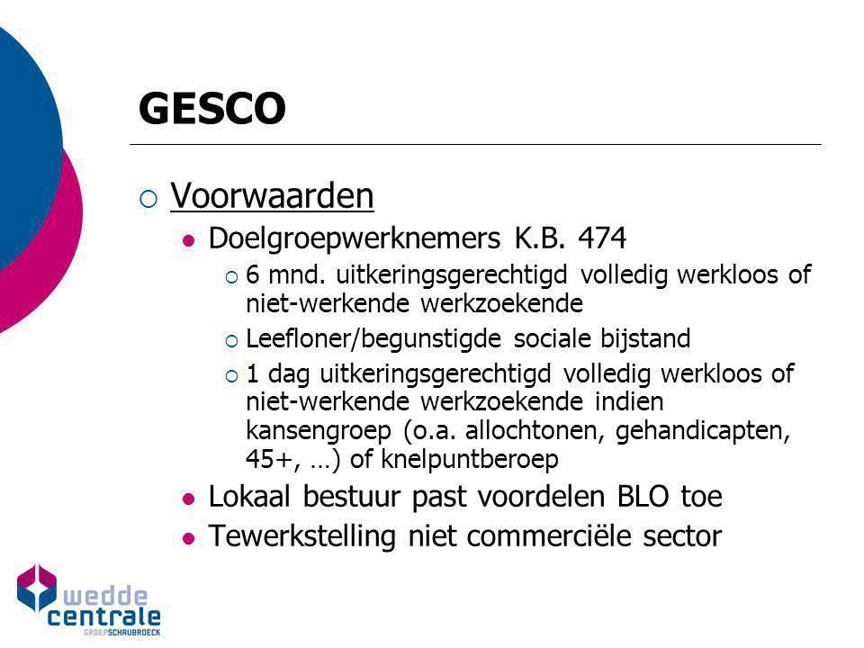 GESCO Voorwaarden Doelgroepwerknemers K.B. 474