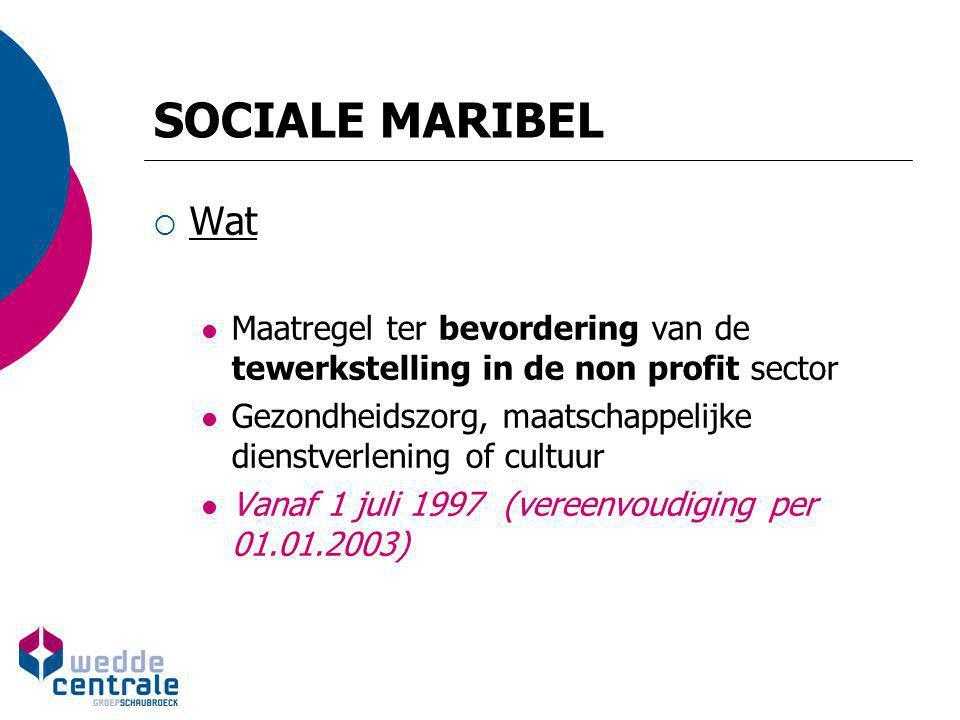 SOCIALE MARIBEL Wat. Maatregel ter bevordering van de tewerkstelling in de non profit sector.