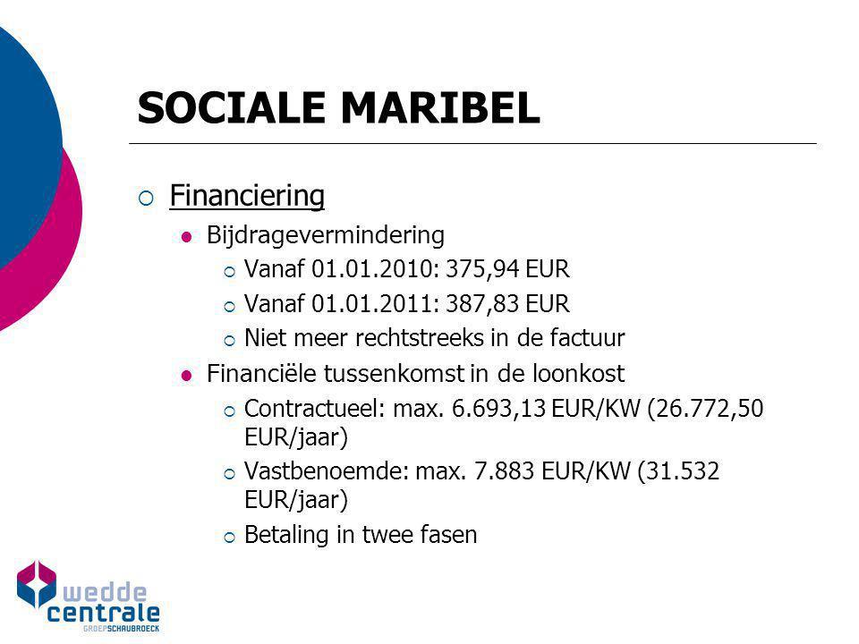 SOCIALE MARIBEL Financiering Bijdragevermindering