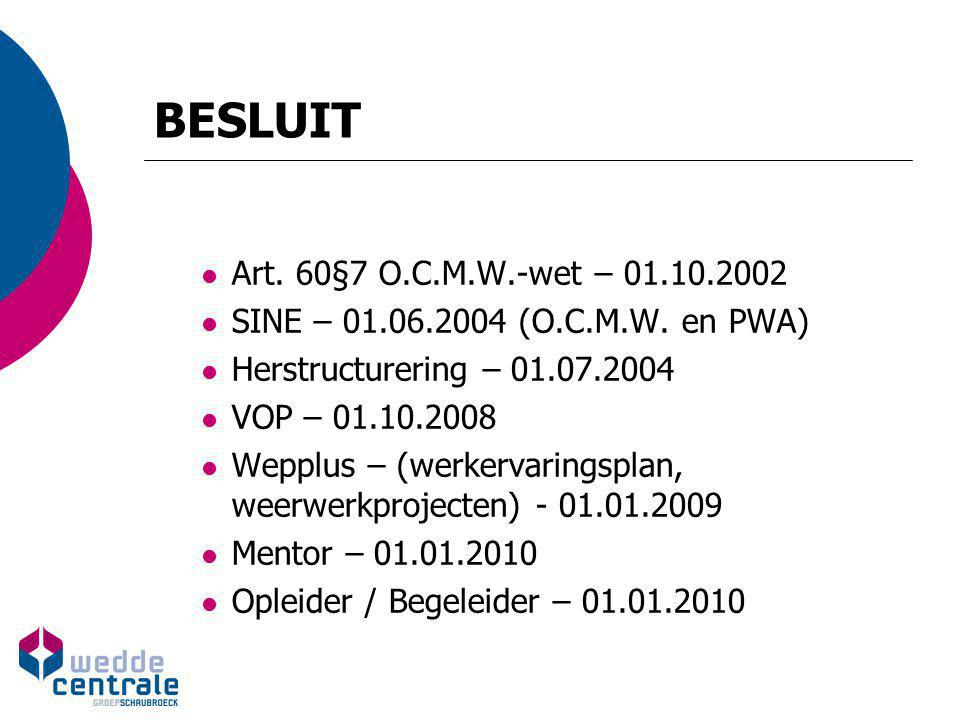BESLUIT Art. 60§7 O.C.M.W.-wet – 01.10.2002