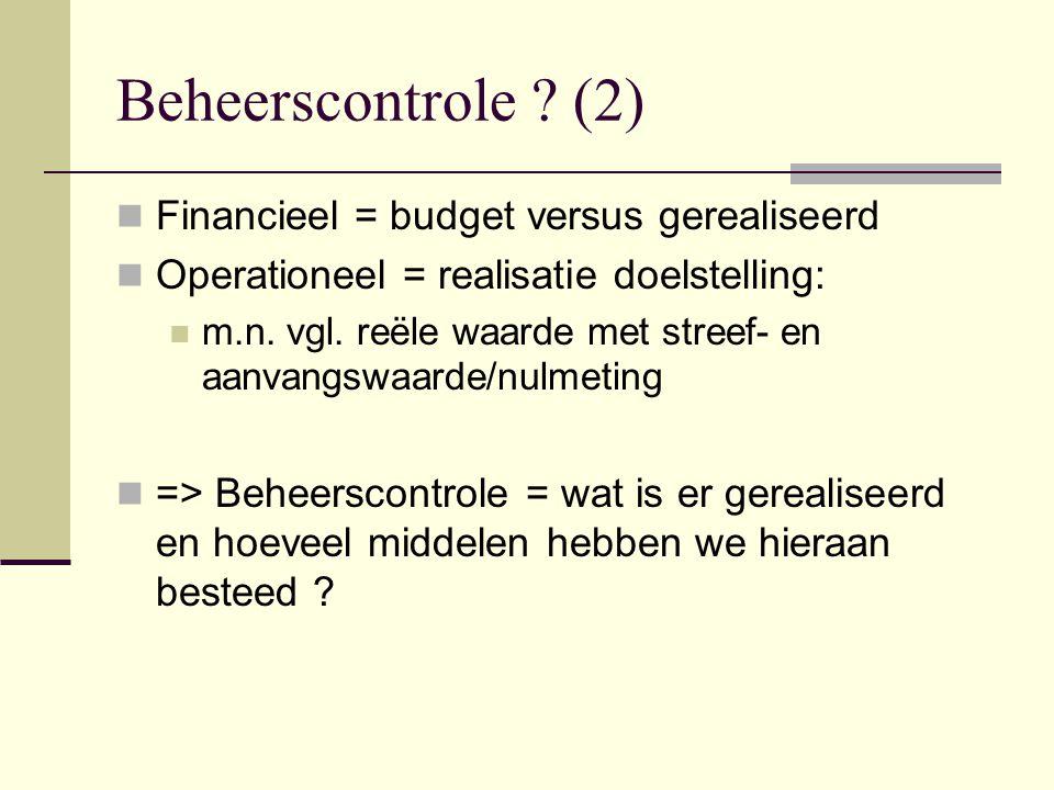 Beheerscontrole (2) Financieel = budget versus gerealiseerd