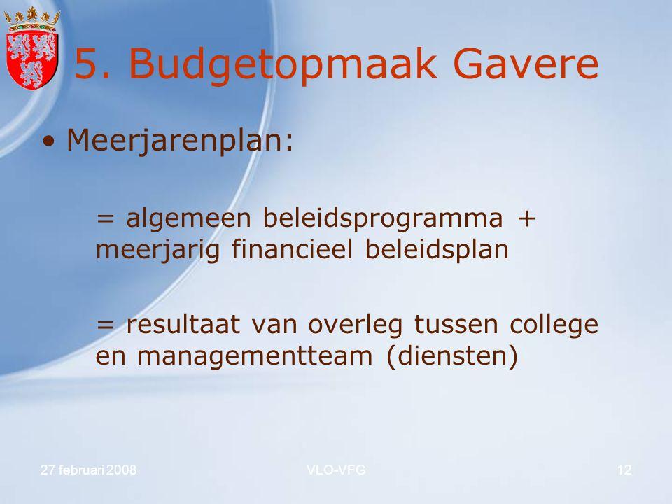 5. Budgetopmaak Gavere Meerjarenplan: