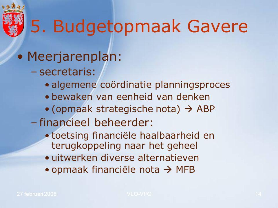 5. Budgetopmaak Gavere Meerjarenplan: secretaris: