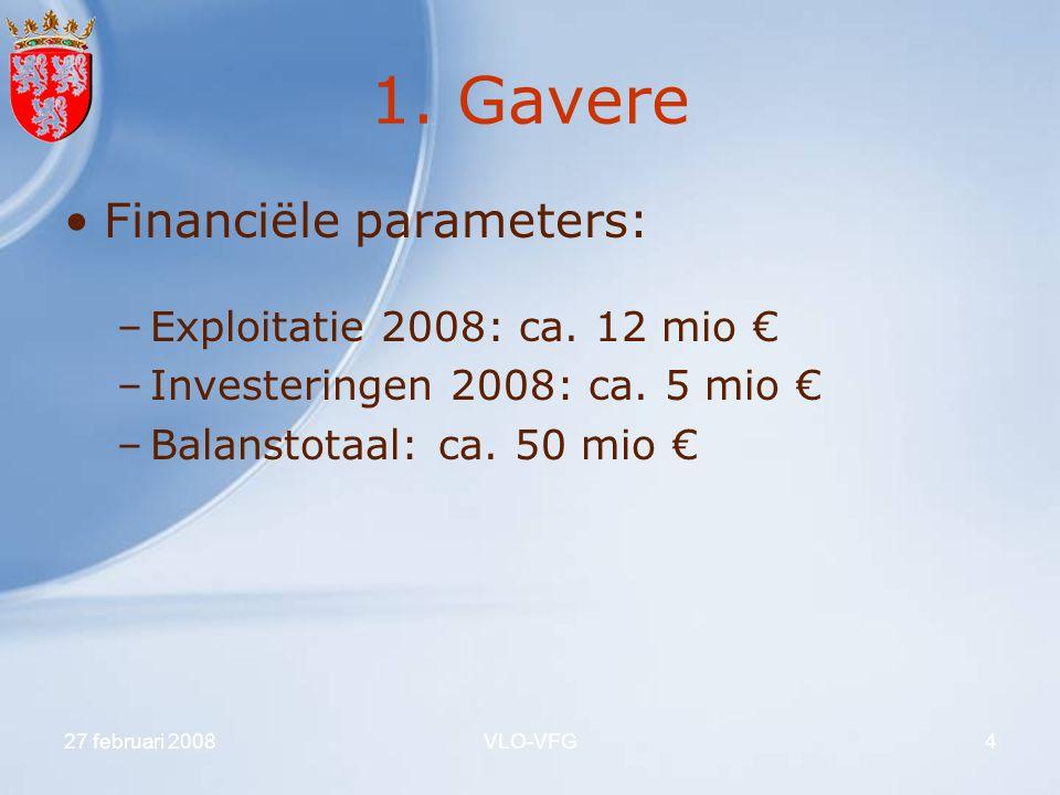 1. Gavere Financiële parameters: Exploitatie 2008: ca. 12 mio €