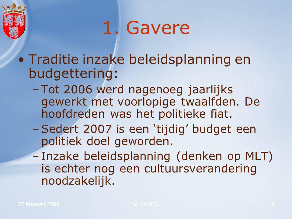 1. Gavere Traditie inzake beleidsplanning en budgettering: