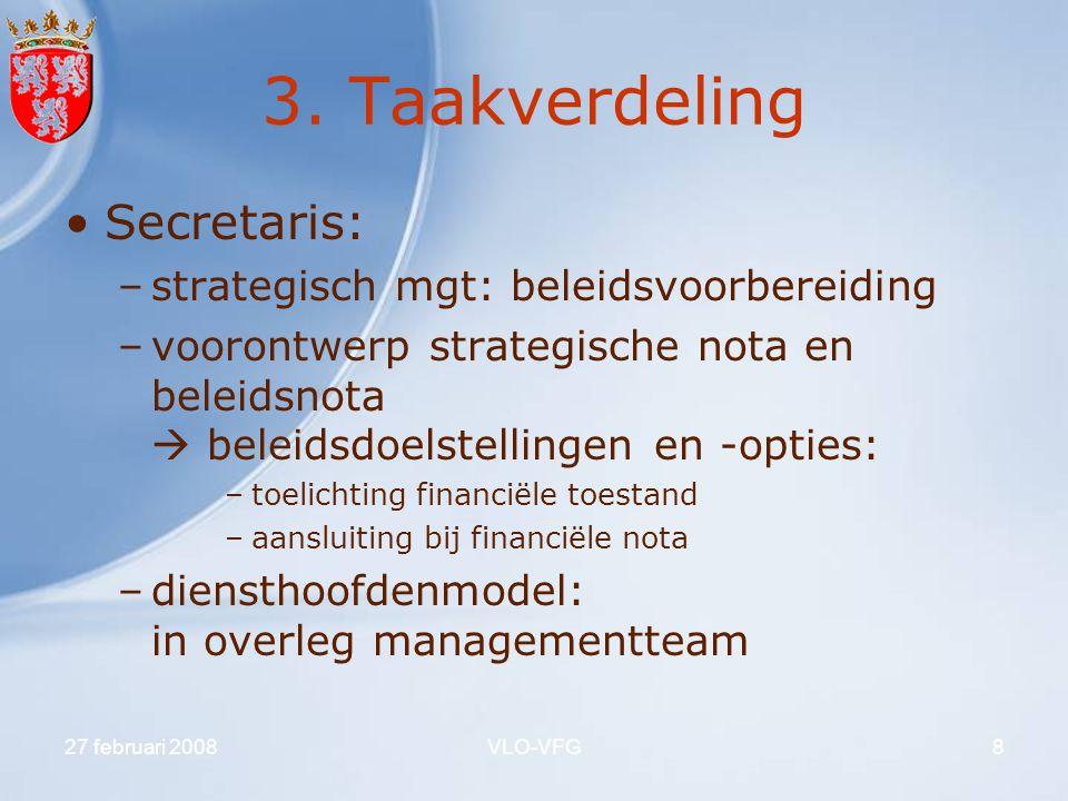 3. Taakverdeling Secretaris: strategisch mgt: beleidsvoorbereiding