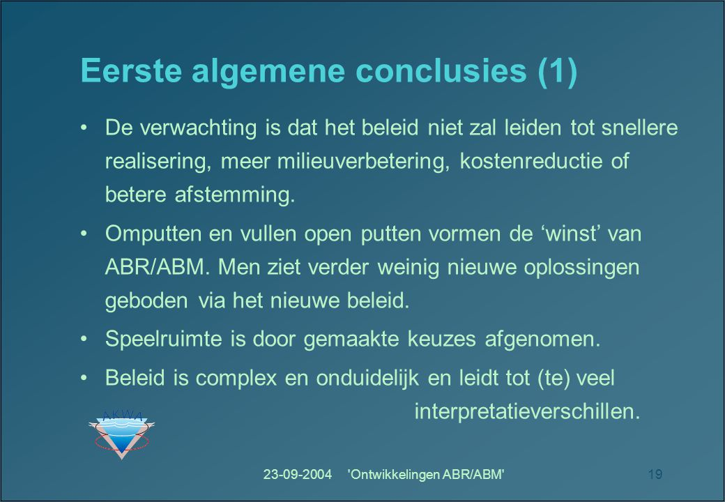 Eerste algemene conclusies (1)