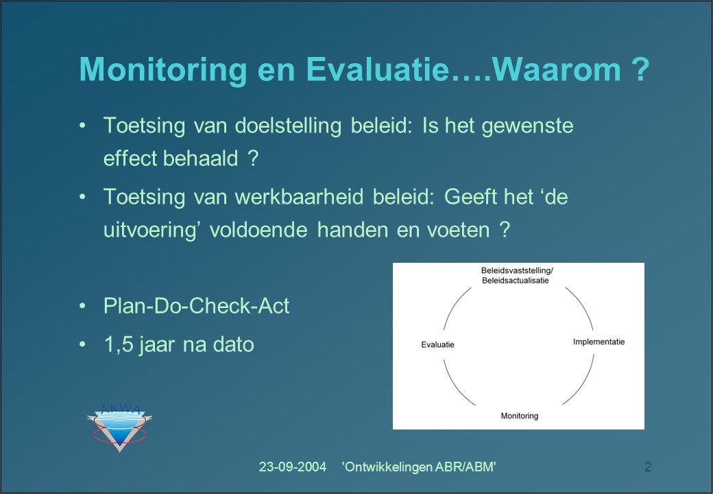 Monitoring en Evaluatie….Waarom