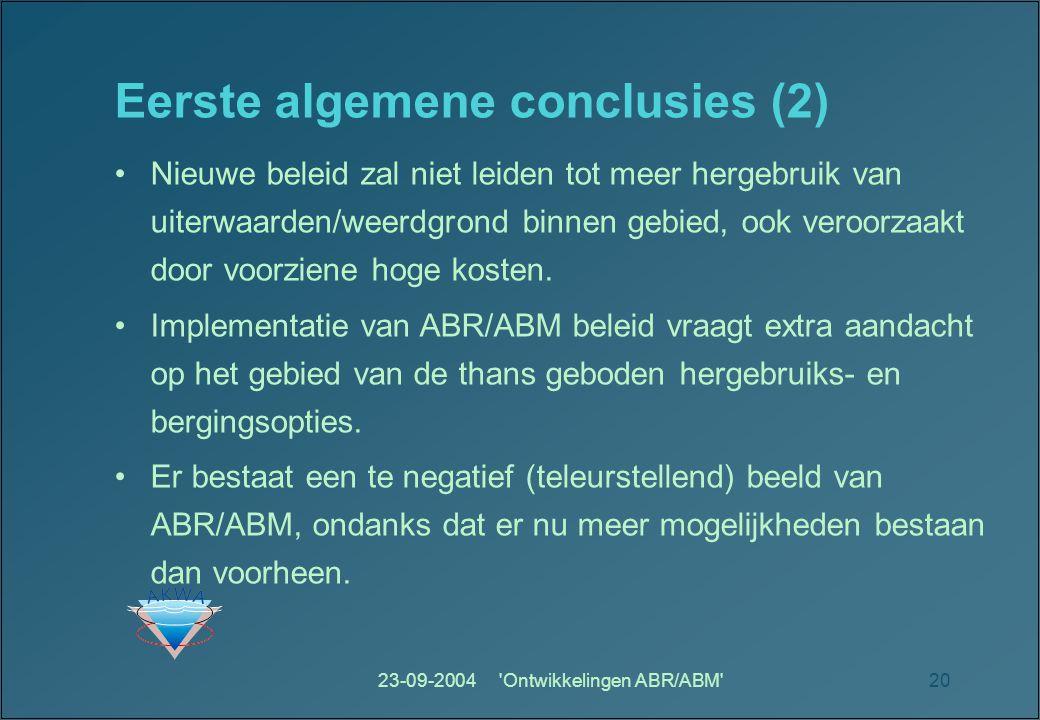 23-09-2004 Ontwikkelingen ABR/ABM