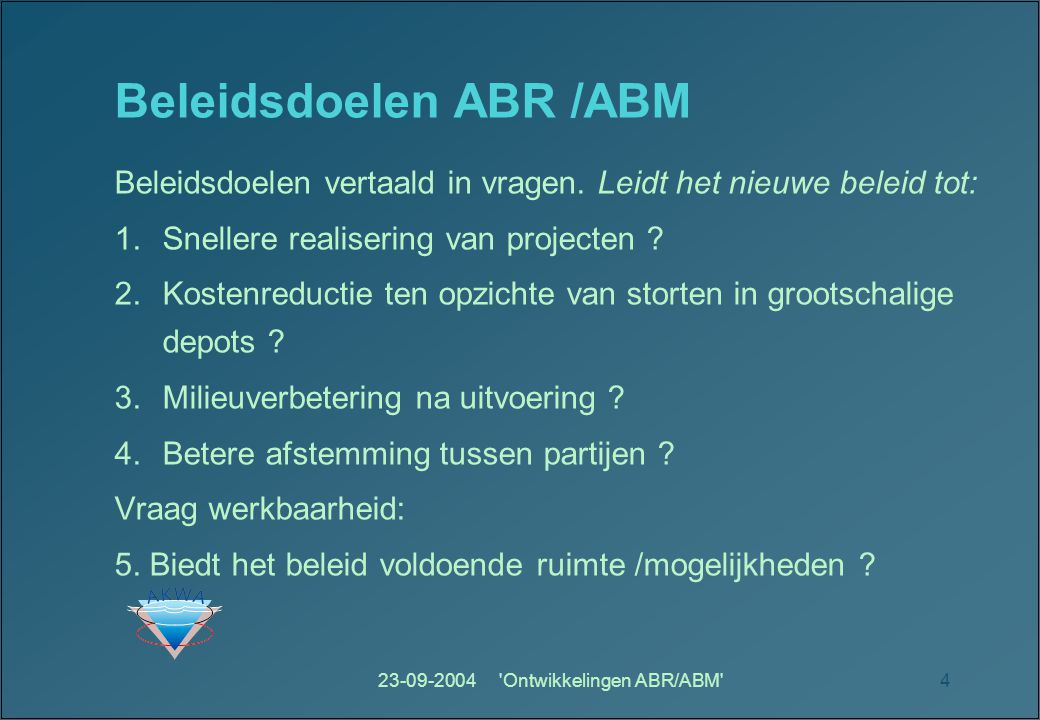Beleidsdoelen ABR /ABM