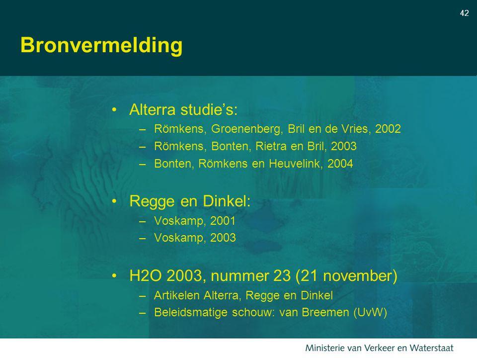 Bronvermelding Alterra studie's: Regge en Dinkel: