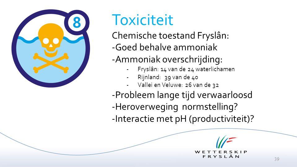Toxiciteit Chemische toestand Fryslân: Goed behalve ammoniak