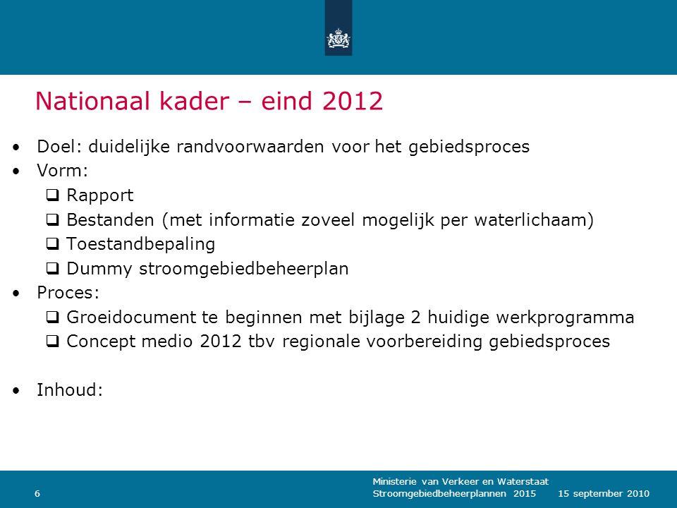 Nationaal kader – eind 2012 Doel: duidelijke randvoorwaarden voor het gebiedsproces. Vorm: Rapport.