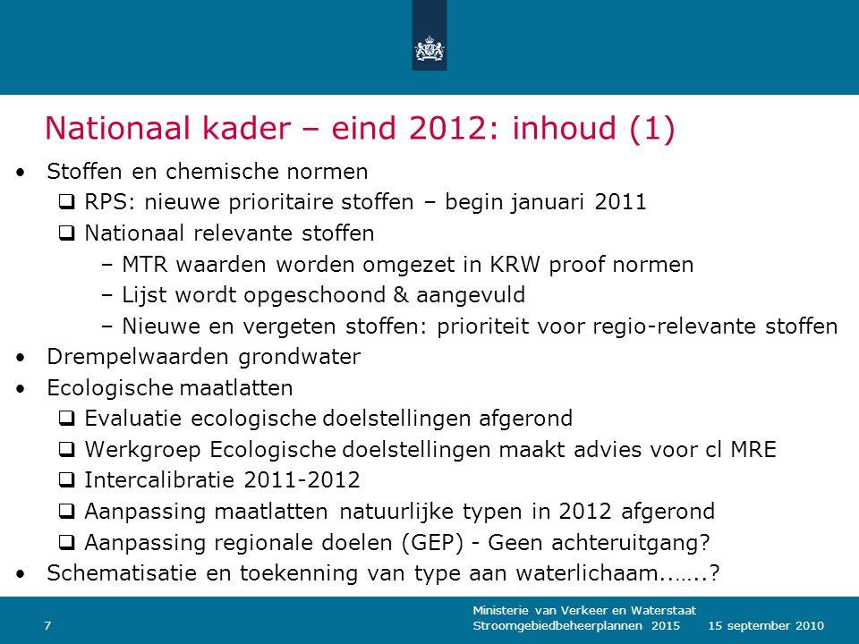 Nationaal kader – eind 2012: inhoud (1)