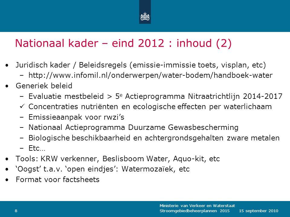 Nationaal kader – eind 2012 : inhoud (2)