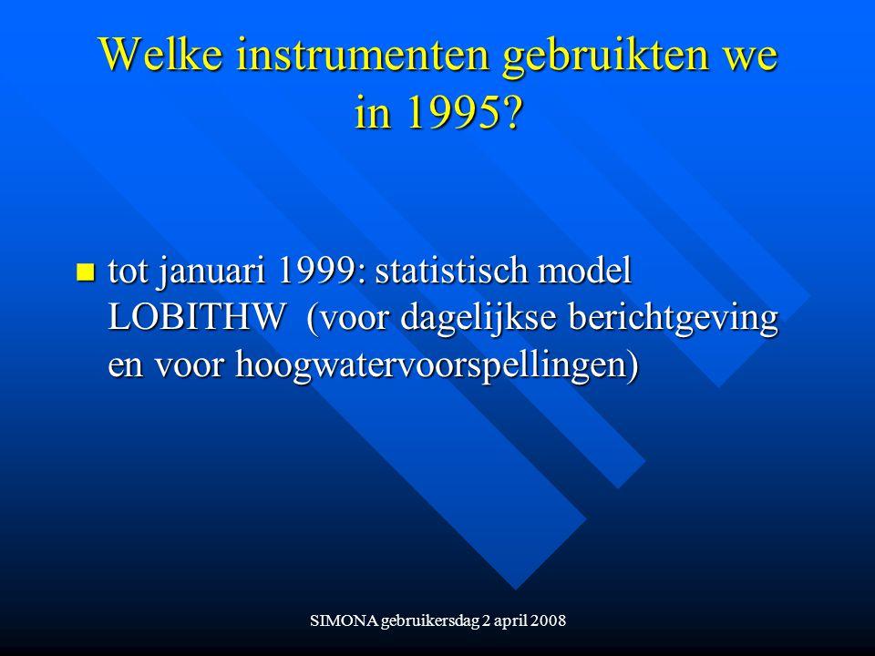 Welke instrumenten gebruikten we in 1995
