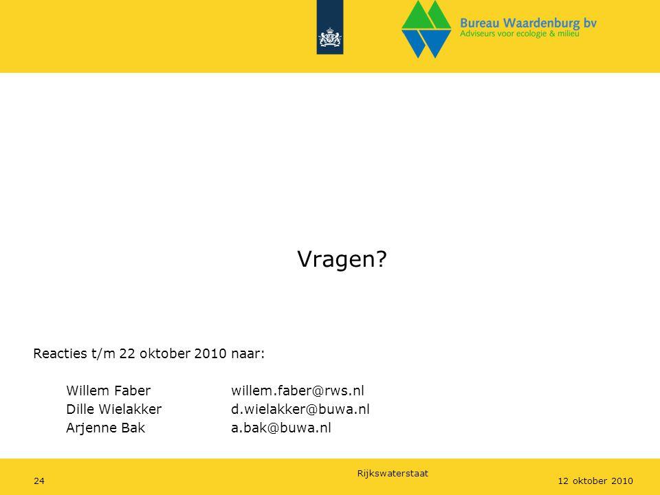 Vragen Reacties t/m 22 oktober 2010 naar: