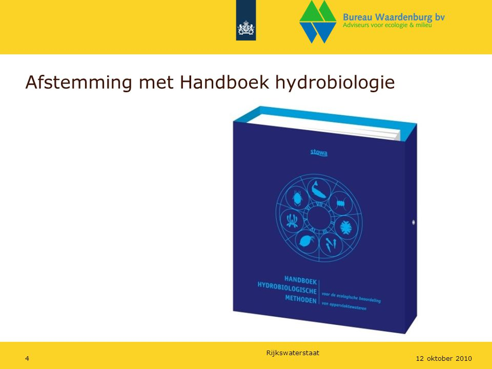 Afstemming met Handboek hydrobiologie