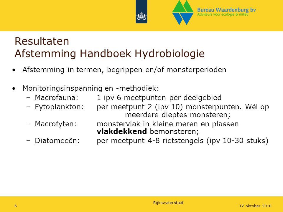 Resultaten Afstemming Handboek Hydrobiologie