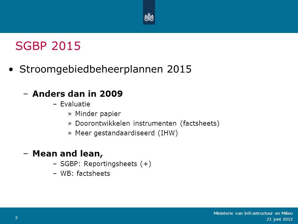 SGBP 2015 Stroomgebiedbeheerplannen 2015 Anders dan in 2009