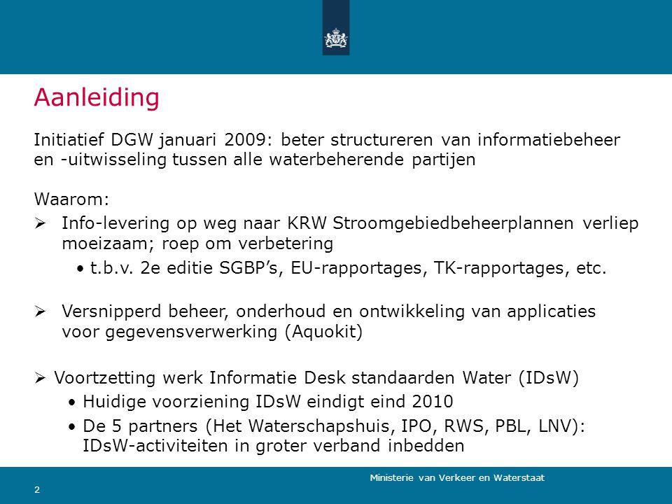 Aanleiding Initiatief DGW januari 2009: beter structureren van informatiebeheer en -uitwisseling tussen alle waterbeherende partijen.