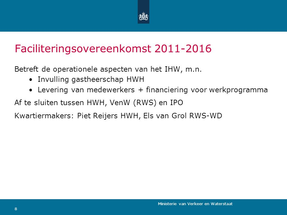 Faciliteringsovereenkomst 2011-2016