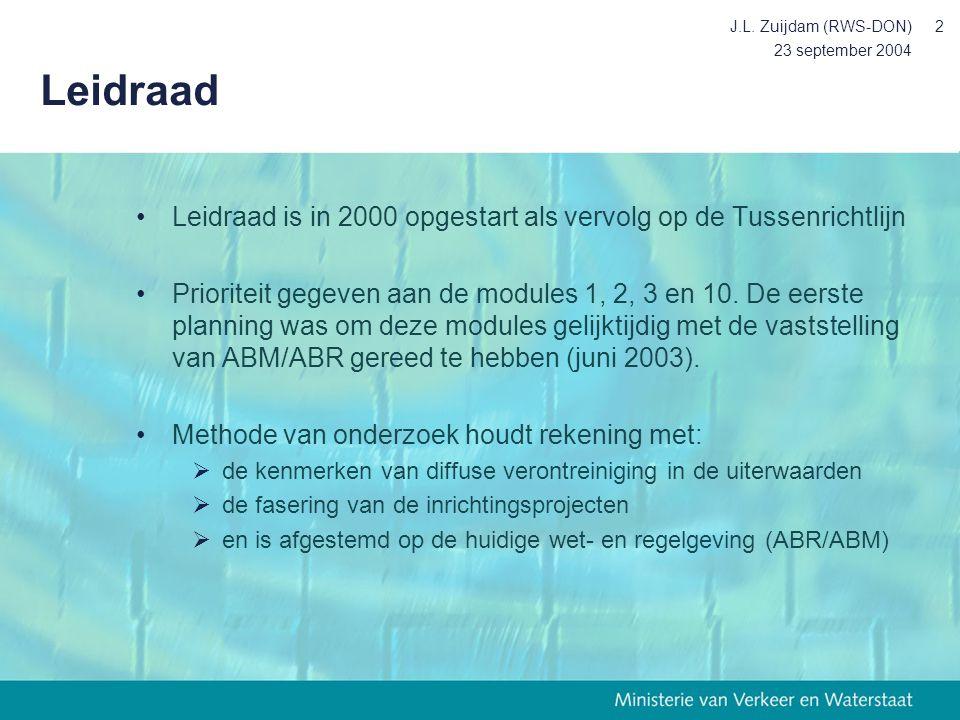 J.L. Zuijdam (RWS-DON) Leidraad. 23 september 2004. Leidraad is in 2000 opgestart als vervolg op de Tussenrichtlijn.