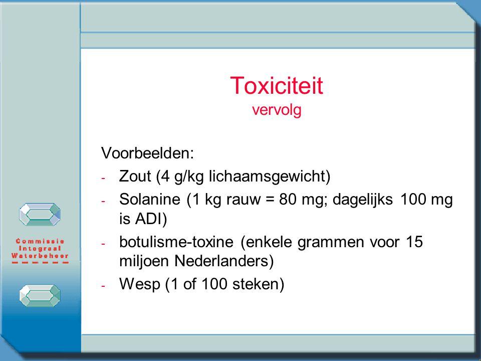 Toxiciteit vervolg Voorbeelden: Zout (4 g/kg lichaamsgewicht)