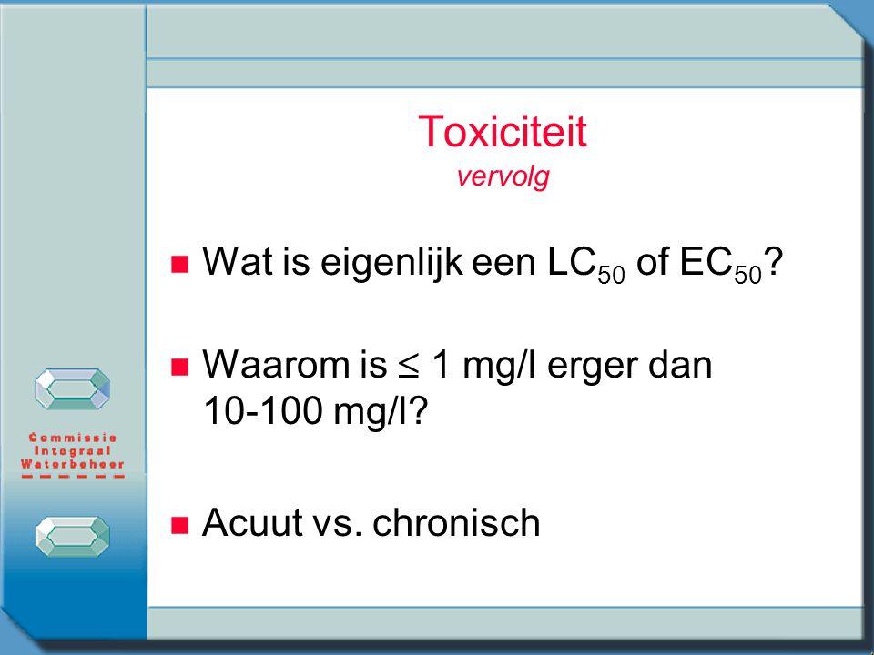 Toxiciteit vervolg Wat is eigenlijk een LC50 of EC50