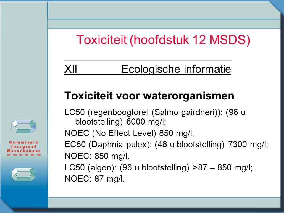 Toxiciteit (hoofdstuk 12 MSDS)