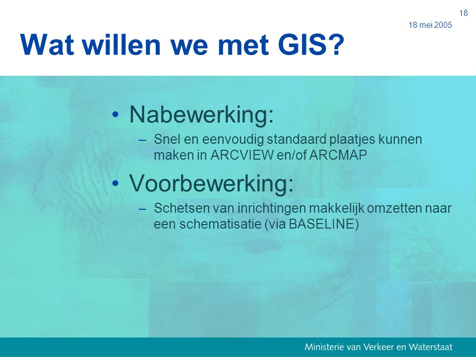Wat willen we met GIS Nabewerking: Voorbewerking: