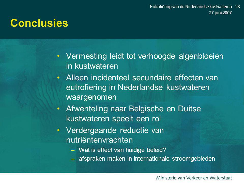 Conclusies Vermesting leidt tot verhoogde algenbloeien in kustwateren