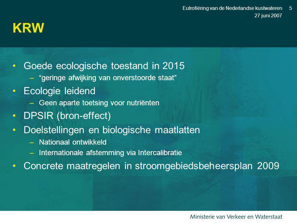 KRW Goede ecologische toestand in 2015 Ecologie leidend