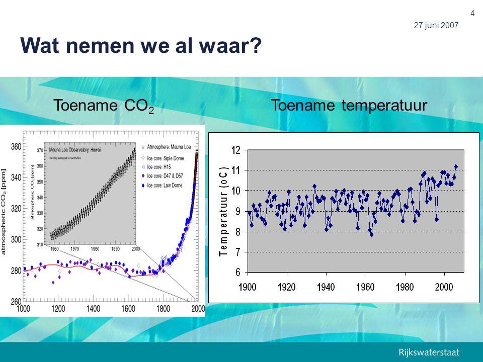 Wat nemen we al waar 27 juni 2007 Toename CO2 Toename temperatuur