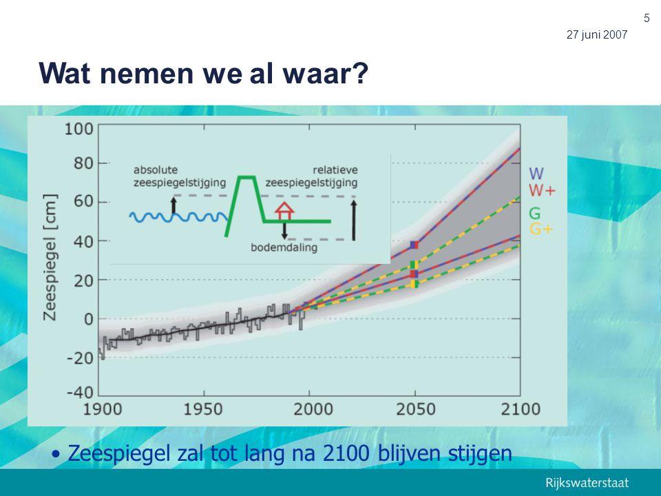 Wat nemen we al waar Zeespiegel zal tot lang na 2100 blijven stijgen