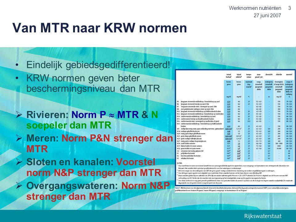 Van MTR naar KRW normen Eindelijk gebiedsgedifferentieerd!