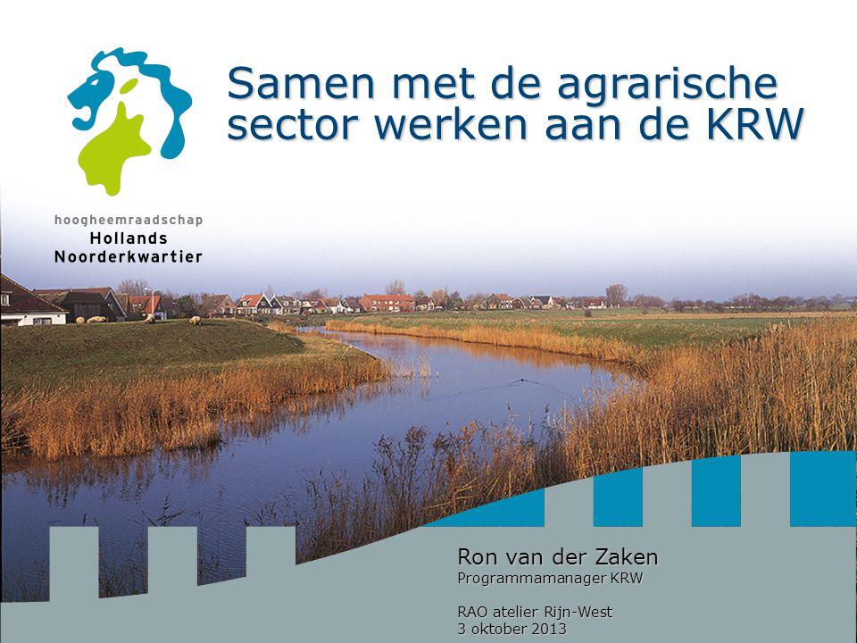 Samen met de agrarische sector werken aan de KRW