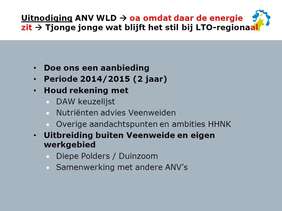 Uitnodiging ANV WLD  oa omdat daar de energie zit  Tjonge jonge wat blijft het stil bij LTO-regionaal
